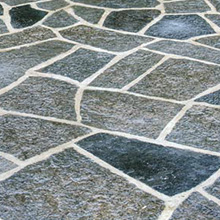 Black random flagstone patio
