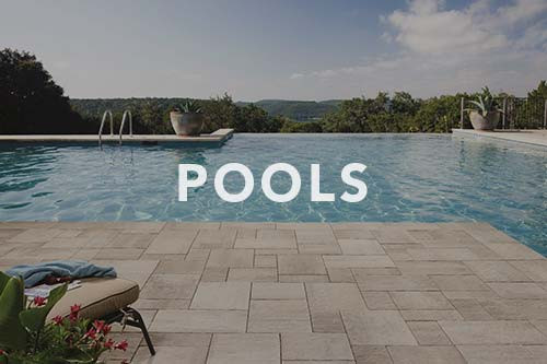 Pool with interlocking paver patio, link to pools photo gallery.
