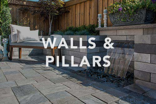 Stone wall with waterfall, link to walls and pilllars photo gallery.