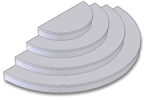Drawing of pre-cast half-round concrete steps