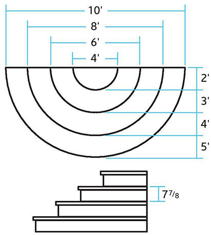 Drawing showing specs of pre-cast half-round concrete steps.