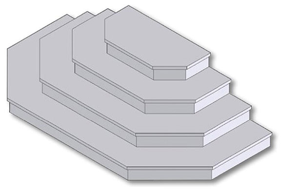 Drawing of pre-cast concrete hex-steps.
