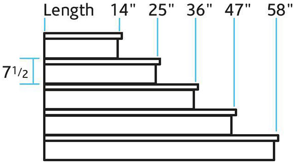 Dimensional drawing of straight pre-cast concrete tacking steps.