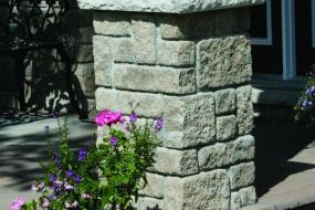Stone post capped with supersill